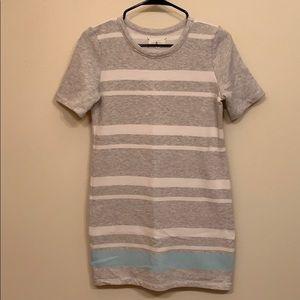 Lou & Grey raw edge collar, striped dress.